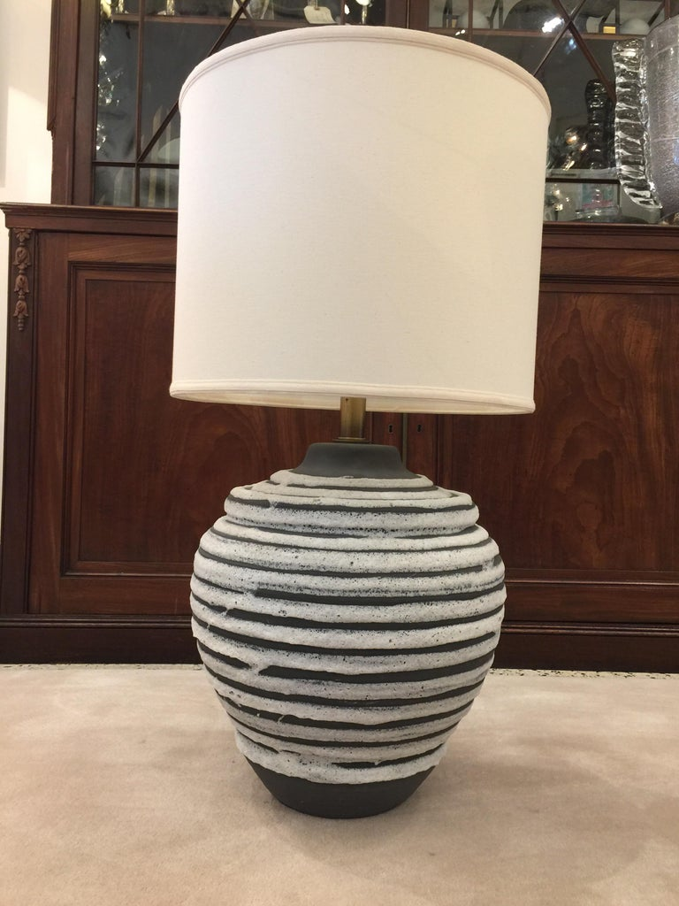 Oversized Beehive Style Pottery Lamp For Sale 1