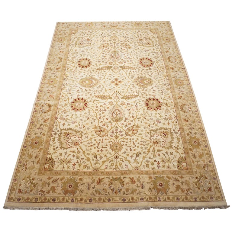 Antique Cotton Agra Rug With Abrash Circa 1900 For Sale: Oversized Beige Sultanabad, Agra, Circa 1990 For Sale At