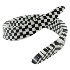 Oversized Black and White Checkerboard Lucite Coiled Bracelet