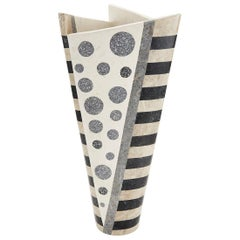 "Oversized Black and White Postmodern Tessellated Stone ""Trio"" Vase, 1990s"