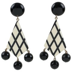 Oversized Black & White Checkerboard Lucite Pierced Earrings
