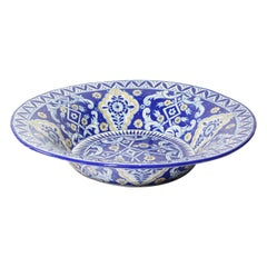 Oversized Blue and White Mexican Talavera Glazed Ceramic Bowl