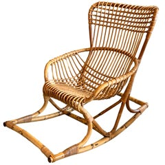 Oversized Bonacina Rattan and Bamboo Rocking Chair