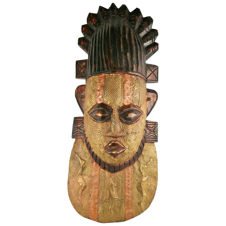 Oversized Brass and Wood Ceremonial Wall Folk Art  Sculpture/Mask