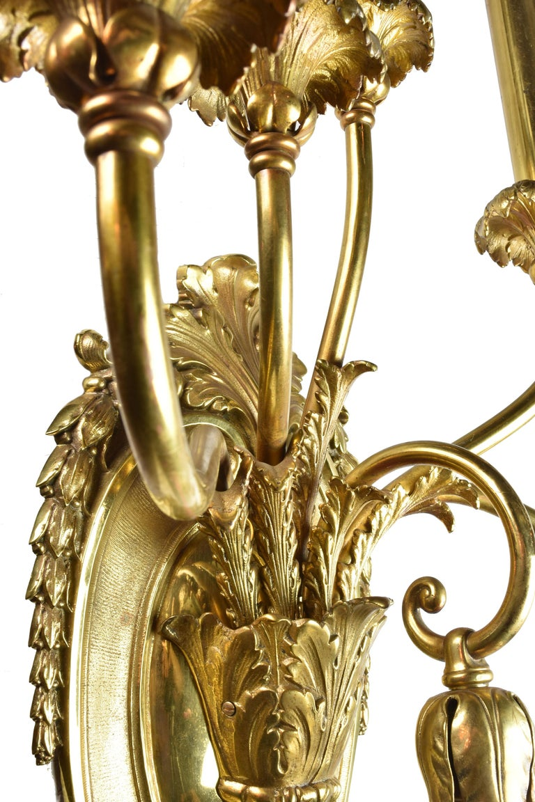 American Oversized Cast Brass Sconce, Pair For Sale