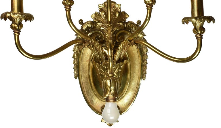 Oversized Cast Brass Sconce, Pair In Good Condition For Sale In Minneapolis, MN