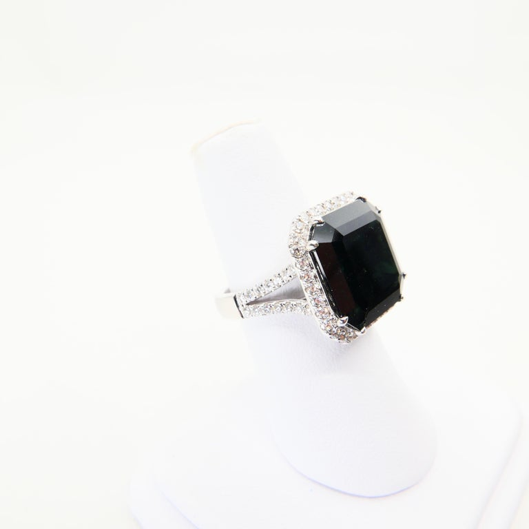 Oversized & Certified Natural Deep Green Tourmaline 9.91 Carat & Diamond Ring. 5