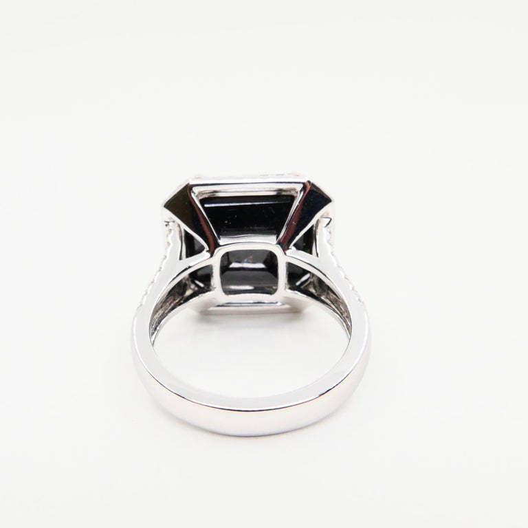 Women's Oversized & Certified Natural Deep Green Tourmaline 9.91 Carat & Diamond Ring.