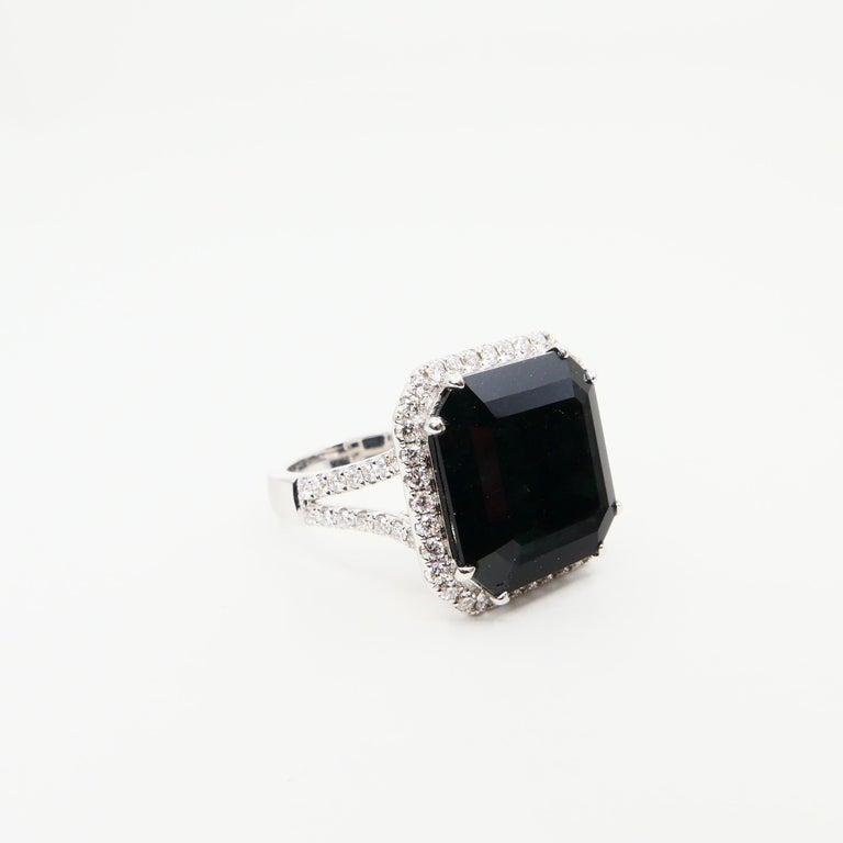 Oversized & Certified Natural Deep Green Tourmaline 9.91 Carat & Diamond Ring. 2