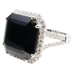 Oversized & Certified Natural Deep Green Tourmaline 9.91 Carat & Diamond Ring.