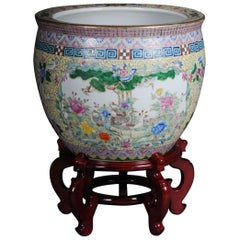Oversized Chinese Flowerpot Floor Vase with Stand, Asia, 20th Century