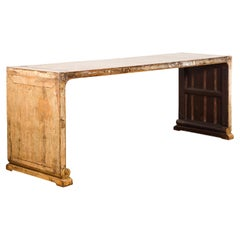 Oversized Chinese Vintage Waterfall Console Table with Distressed Rubbed Patina