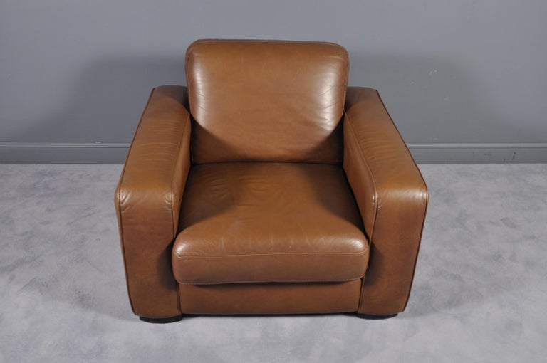 Oversized Cigar Brown High Quality Leather Club Chair For ...