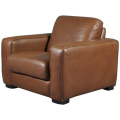 Oversized Cigar Brown High Quality Leather Club Chair