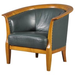 Oversized Cigar Green High Quality Leather Club Chair, 1970s