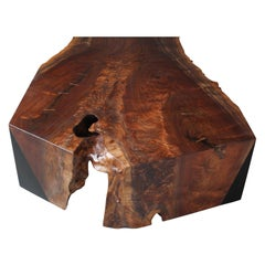 Oversized Claro Walnut Single Slab Live Edge Coffee Table, in Stock