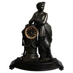 Oversized Classical Antique Blot and Drouard Figural Bronze Mantel Clock