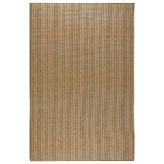 Oversized Contemporary Creamy Beige and Brown Hand Knotted Wool Rug