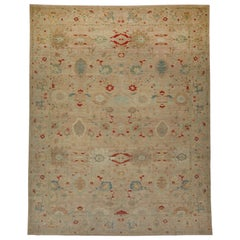 Oversized Contemporary Turkish Sultanabad Rug with Eclectic Floral Details