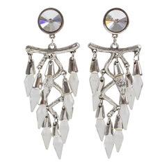 Oversized Dangle Clip Earrings Silver Plate & Crystal Drop
