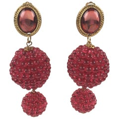 Oversized Dangle Lucite Clip Earrings Raspberry Red Beads