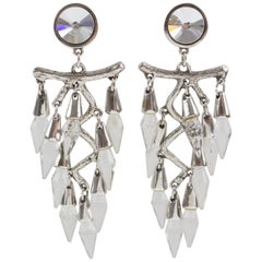 Oversized Dangling Chandelier Clip on Earrings Silver Plate & Crystal Drop Beads