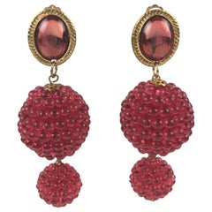 Oversized Dangling Lucite Clip-on Earrings Raspberry Red Textured Beads