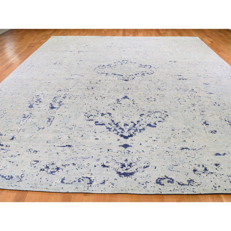 Art Deco Oversized Diminishing Cypress Tree with Medallion Design Silk with Textured Wool For Sale