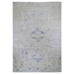 Oversized Diminishing Cypress Tree with Medallion Design Silk with Textured Wool