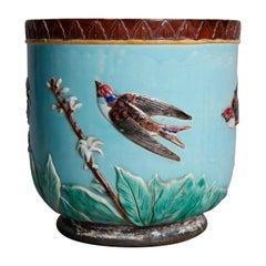 Oversized English Aesthetic Movement Wedgewood Majolica Pottery Jardinière
