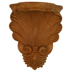 Oversized English Hand Carved Shell Wall Bracket/Shelf, Circa 1930