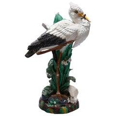 Oversized English Joseph Holdcroft Majolica Figural White Stork Cane Stand
