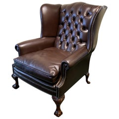 Oversized English Leather Wing Armchair