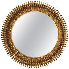 Oversized Eyelash Sunburst Mirror in Gilt Wrought Iron