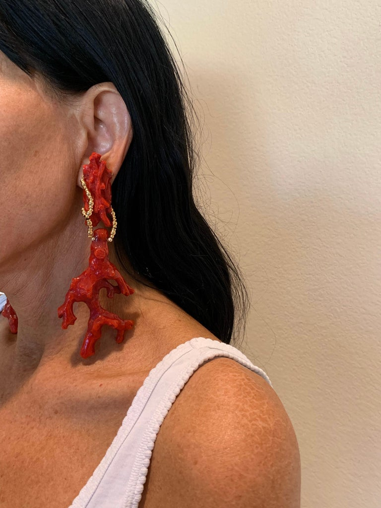 Contemporary Oversized Faux Coral And Gold Statement Earrings  For Sale