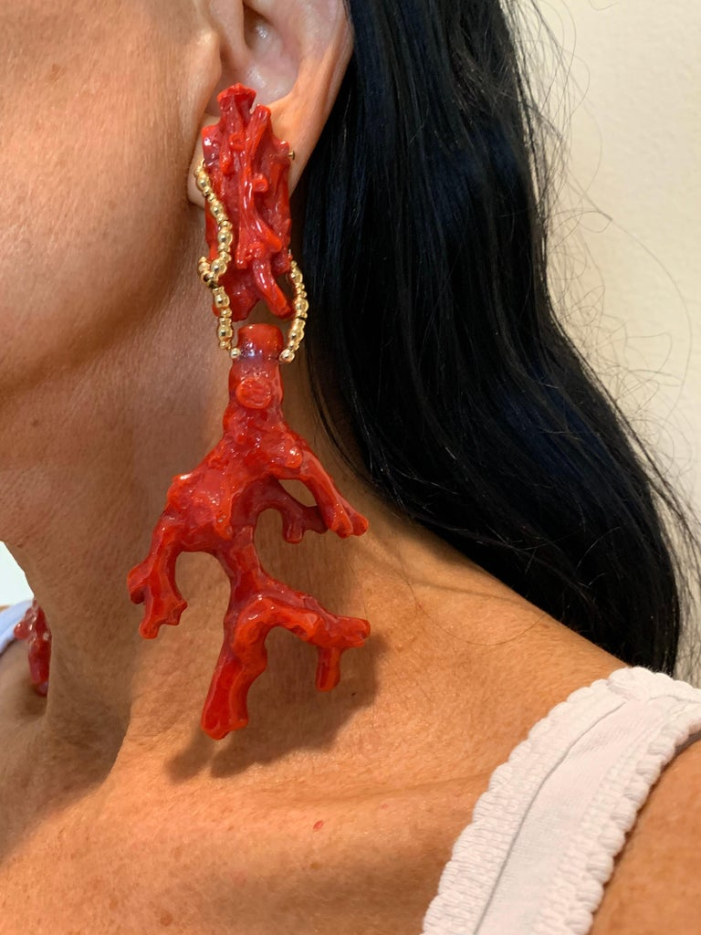 Oversized Faux Coral And Gold Statement Earrings  In Excellent Condition For Sale In Palm Springs, CA