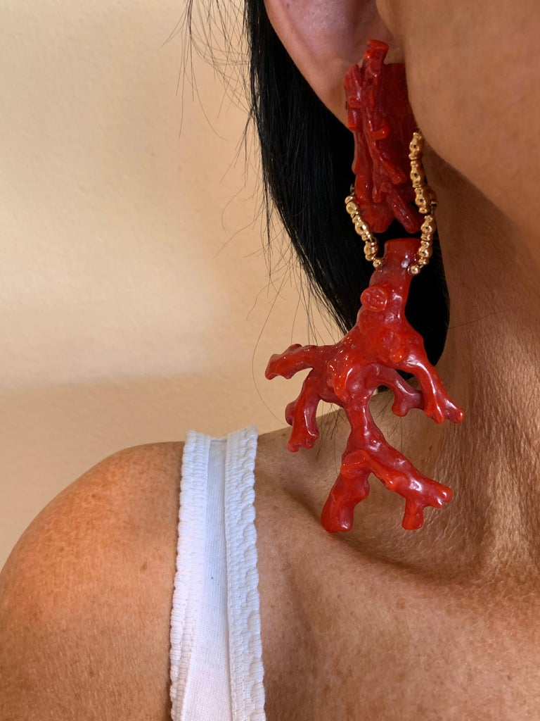 Oversized Faux Coral And Gold Statement Earrings  For Sale 2