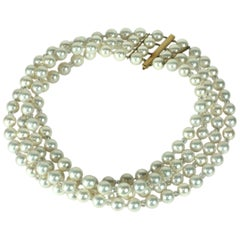 Oversized Faux Pearl and Gold Collar