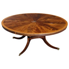 Oversized Federal Flame Mahogany and Satinwood Sunburst Dining Table by Rist