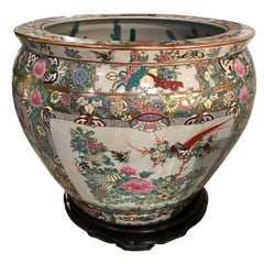 Oversized Floral Chinoiserie Planter with Koi Fish Interior Motif