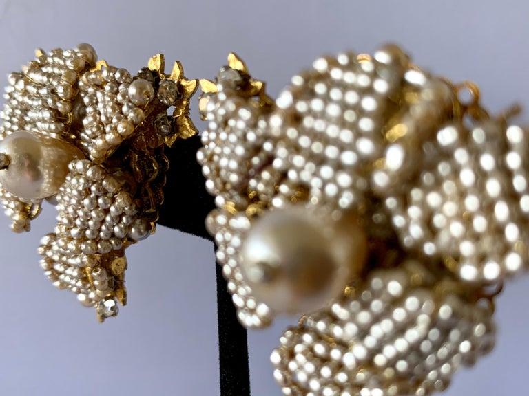 Artisan Oversized Flower Faux Pearl Diamante Earrings  For Sale