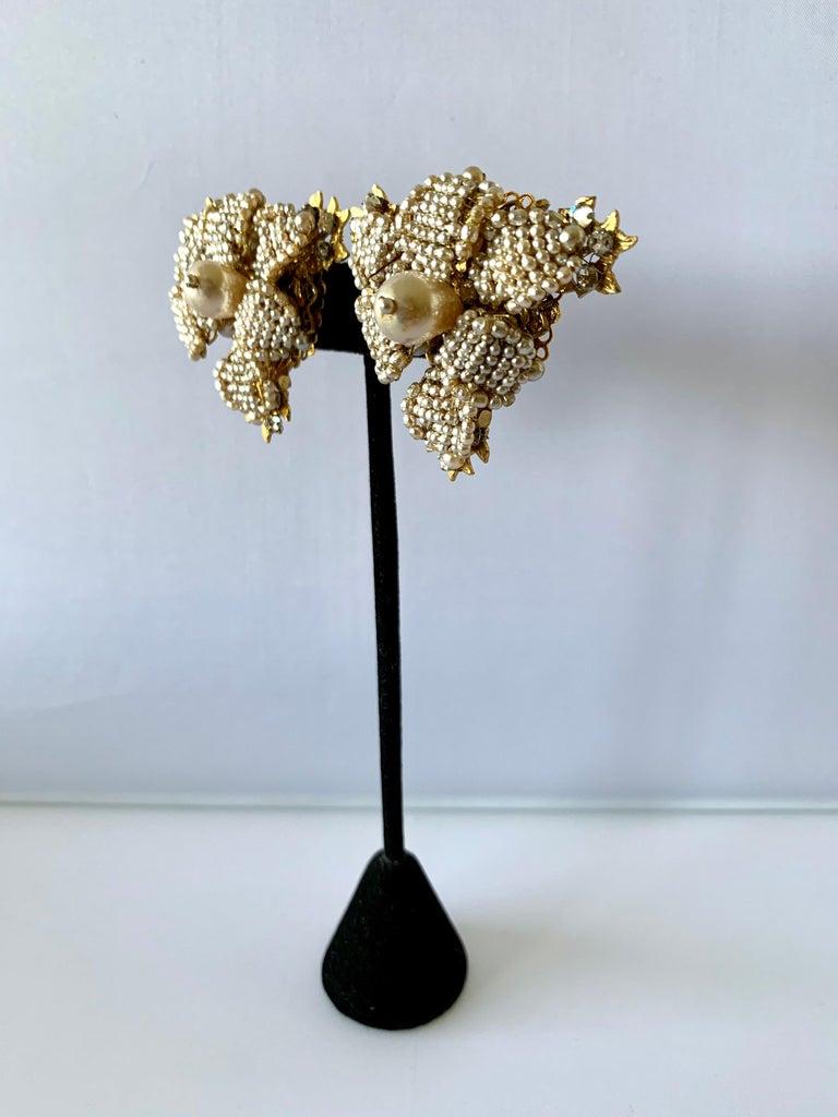 Bead Oversized Flower Faux Pearl Diamante Earrings  For Sale