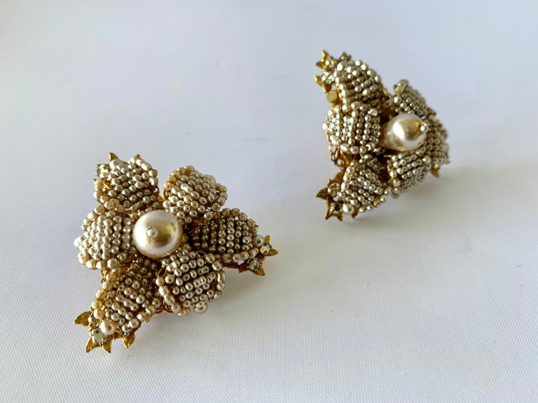 Oversized Flower Faux Pearl Diamante Earrings  In Excellent Condition For Sale In Palm Springs, CA