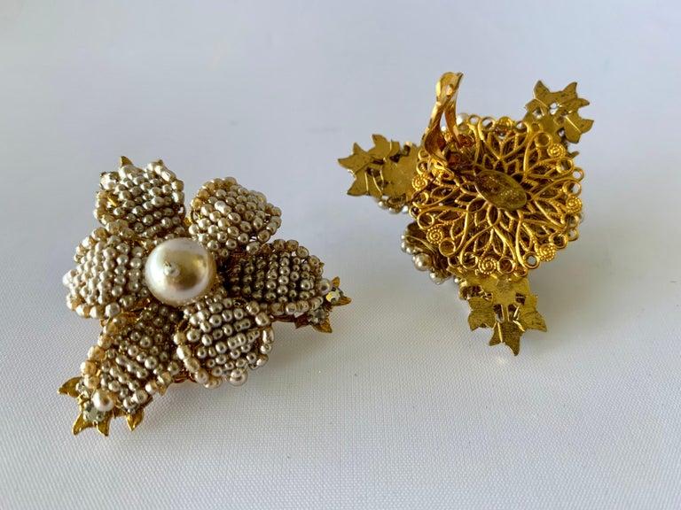 Women's Oversized Flower Faux Pearl Diamante Earrings  For Sale