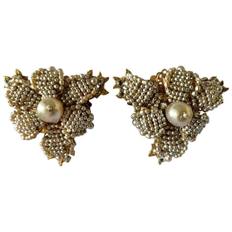 Oversized Flower Faux Pearl Diamante Earrings  For Sale