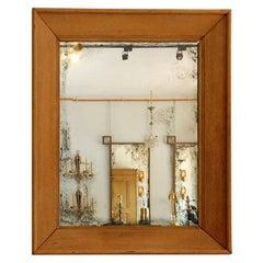 Oversized French 1940s Limed Oak Mirror