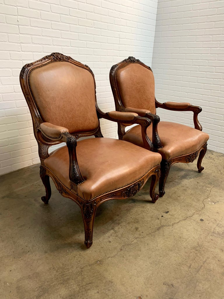 Oversized French Louis XV Style Armchairs with Leather Upholstery 6