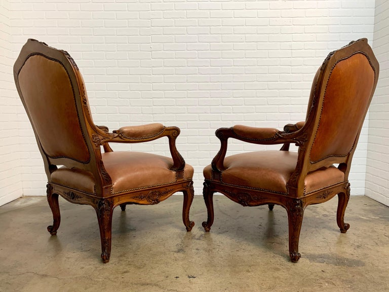 Oversized French Louis XV Style Armchairs with Leather Upholstery 8