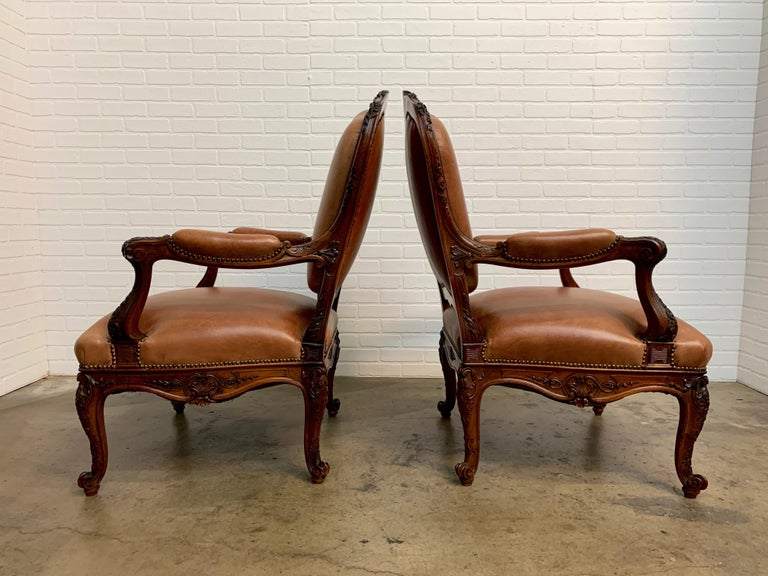 Oversized French Louis XV Style Armchairs with Leather Upholstery 9