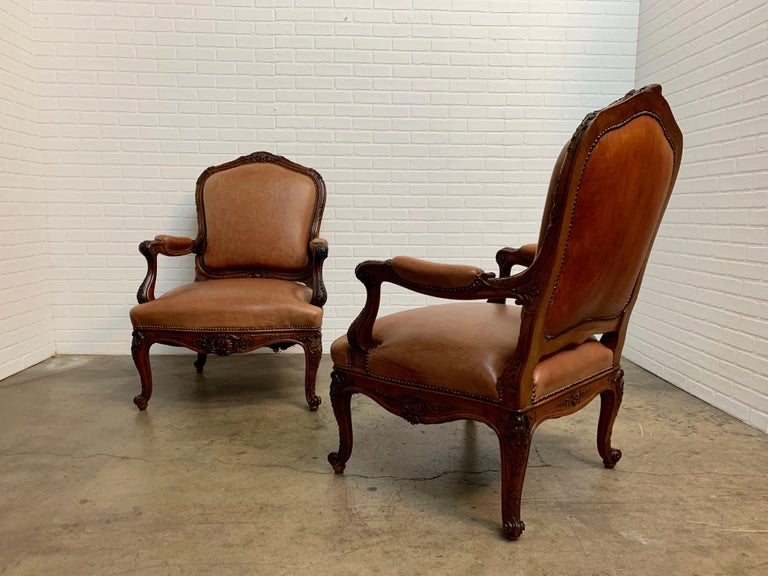 Oversized French Louis XV Style Armchairs with Leather Upholstery 10